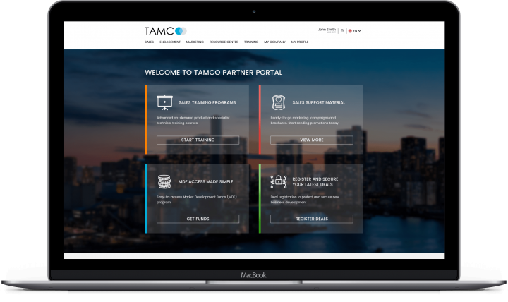 Laptop with TAMCO Partner Portal Welcome Page