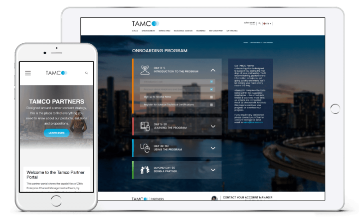 Tablet and phone displaying TAMCO website
