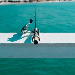 Fishing pole on white rail with blue water in background