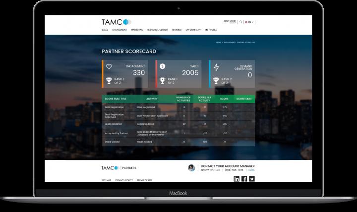 Laptop displaying TAMCO website on Partner Scorecard page