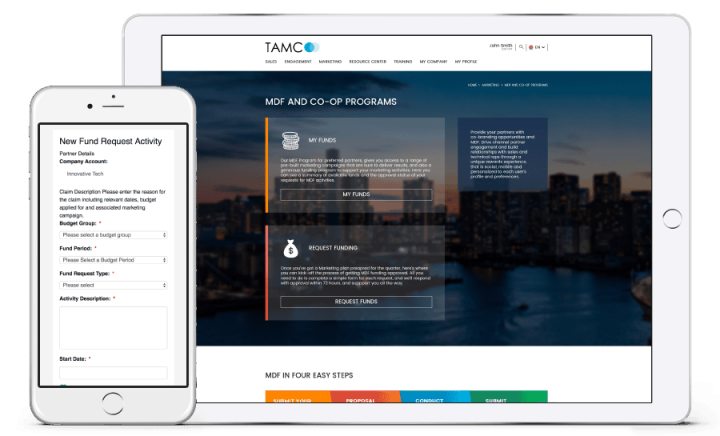 Cellphone and tablet displaying TAMCO website
