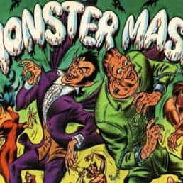 Monster Mash graphic with illustrated vampire, Frankenstein's monster, werewolf, mummy and bats